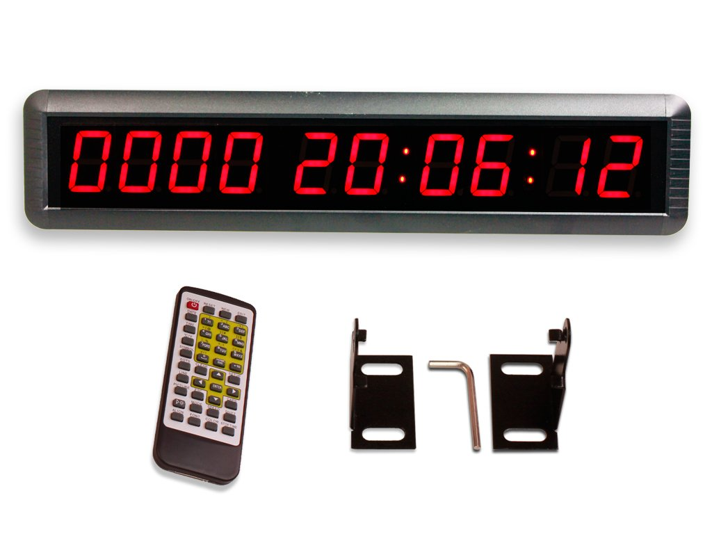 EU 1.8'' LED Days Countdown CountUP and Clock Red Color 10 Digits 9999 Days with Hours Minutes Seconds IR Remote Control Aluminum Casese