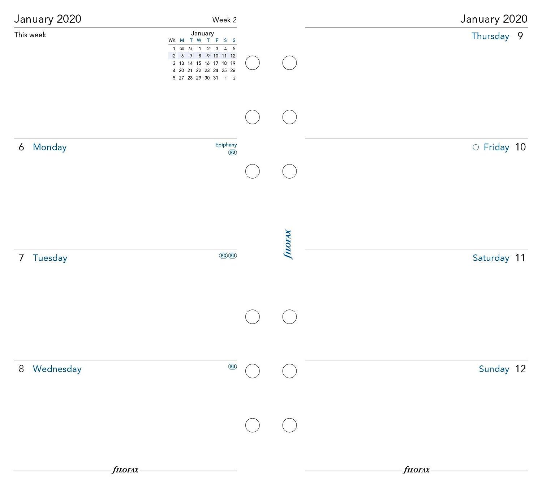 Agenda personale 2020 in inglese Filofax settimana su due pagine