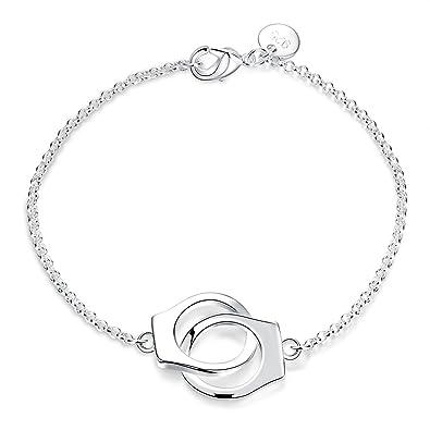 Bijoux bracelets réglables bracelet en argent avec des menottes matérielles  bouton argent frappé style houblon pour