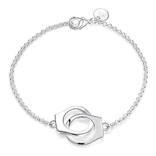 Pulseras de brazalete de plata ajustables de la joyería con las esposas del material del botón
