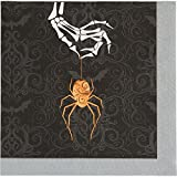 Pack of 12 Black and Orange Foil Stamped Wicked Spider Luncheon Napkin 6.5''