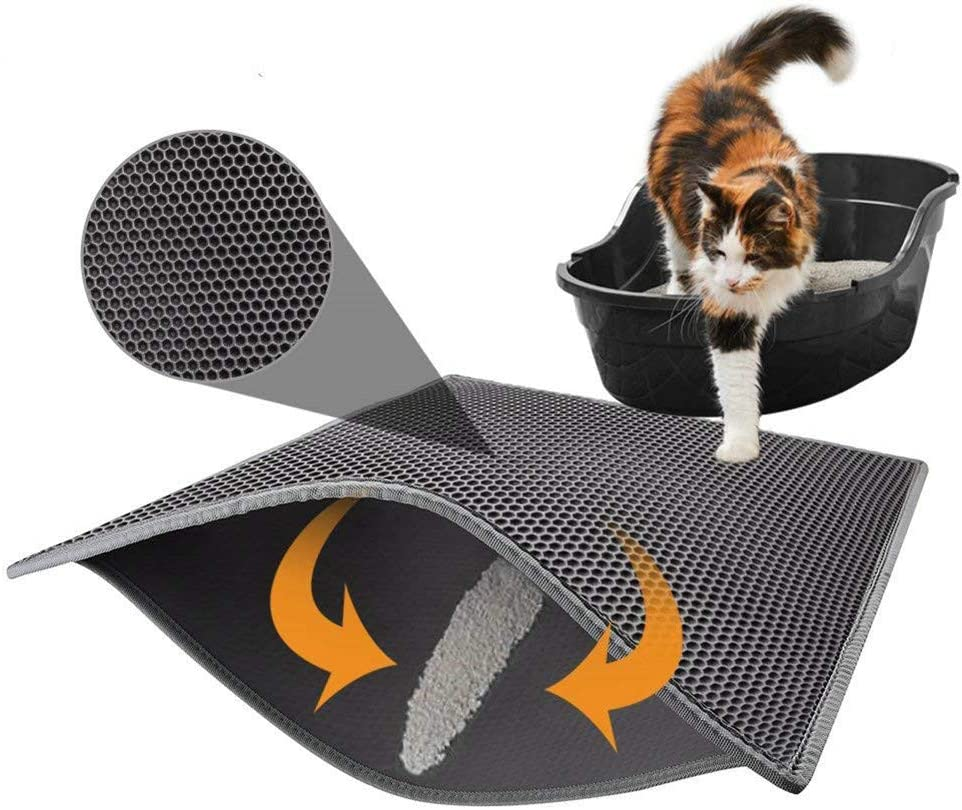 Lispeed Alfombrilla de arena para gatos, alfombrilla para arena de gato, alfombrilla para arenero de diseño de panal, impermeable, doble capa, diseño de panal, color negro