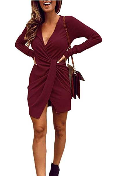 716858ed6a11 Limtery Women's Sexy V Neck Ribbed Knit Long Sleeve Ruched Slit Mini Party  Dress (Small