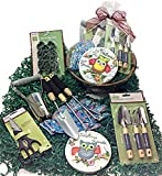 Deluxe Easter or Mothers Day Gardening Tools Gift Basket Set & Hanging Cocoa Lined Planter (B)