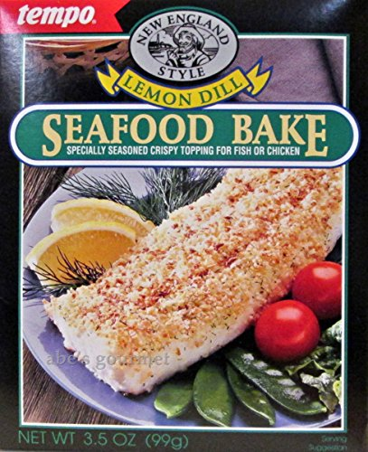 New England Style Lemon Dill Seafood Bake Crispy Topping Mix (Pack of 2) 3.5 oz Boxes (Mix Bake Fish)