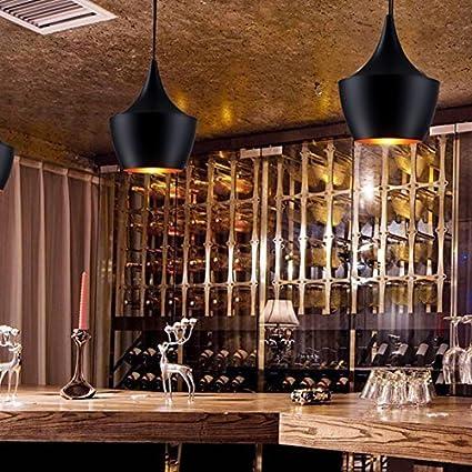 au/ßen schwarz innen gold Glighone Modern Pendelleuchte Schwarz Industrie H/ängeampe Metall Retro-Deckenleuchte E27 ⌀19cm f/ür Esstisch Esszimmer Wohnzimmer Schlafzimmer K/üche Flur Bar Cafe/´ ...