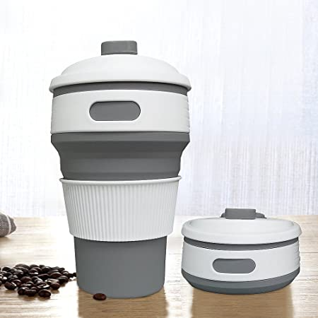 jonhen travel mug 12 oz leak proof collapsible silicone coffee cup