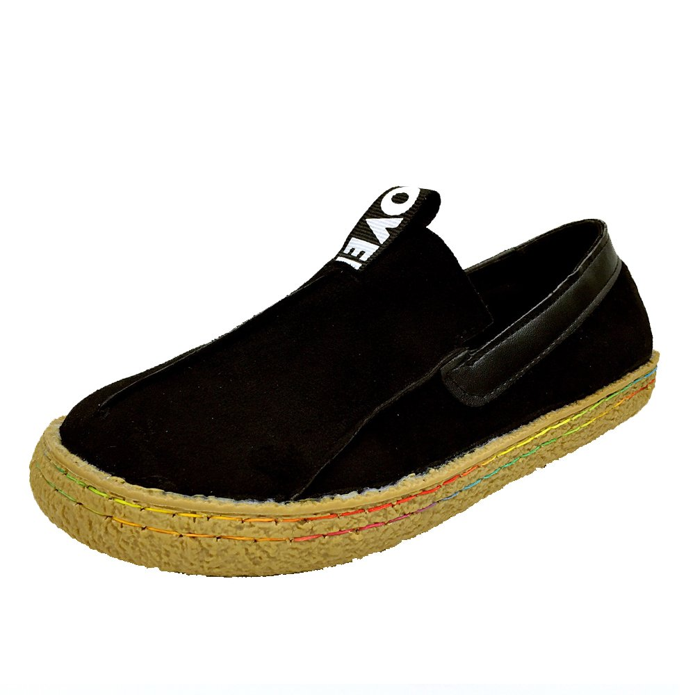 ALBBG Leather Boat Mary Loafers Travel Driving Platform Wide Brown Girl's Woman's Shoes Walking (B(D) US7.5/EU38/UK5.5/CN38, Black)