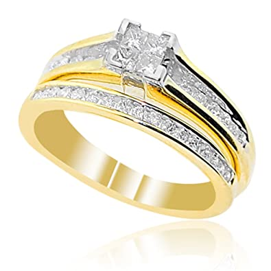 Amazon Com Midwest Jewellery 10k Yellow Gold Engagement Ring And