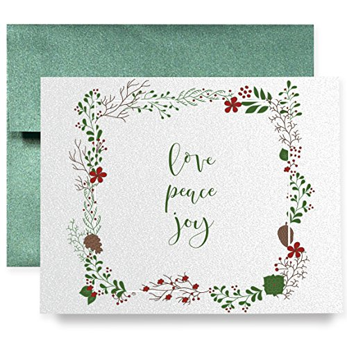 Blue Stripe Folded Note (Love Peace Joy Christmas Holiday Greeting Cards Boxed Set of 8 Shimmer Cards & Green Envelopes Calligraphy Folded Cards 8-Count Box |)