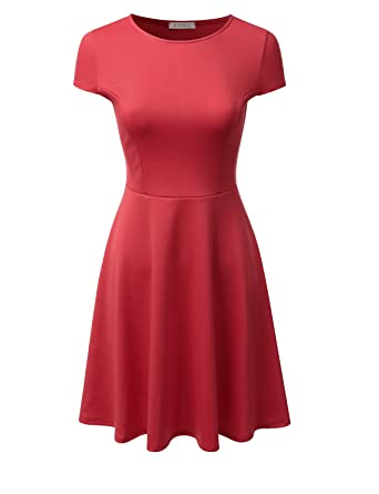 5fd7a4f4f4 Doublju Stretchy Flared Midi Skater Dress for Women with Plus Size (Made in  USA)