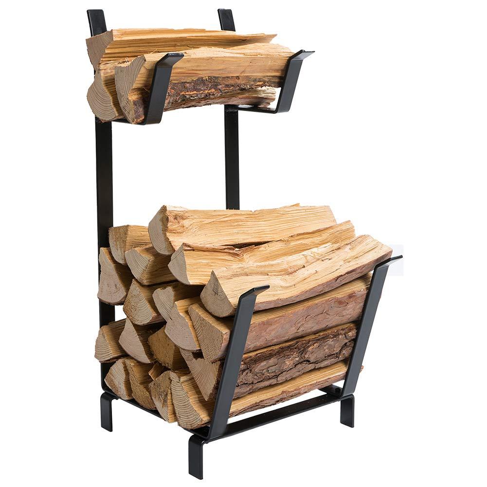 DOEWORKS Hammered Steel Design Small Decorative Indoor/Outdoor Firewood Log Rack Bin, Black