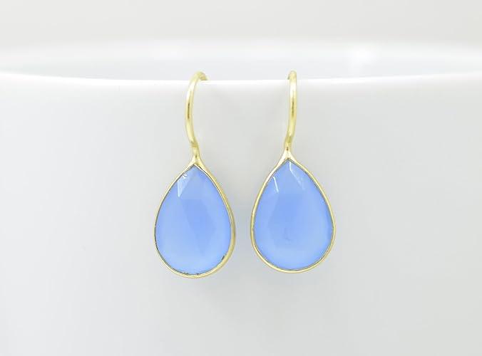 f5fb1bd90 Amazon.com: Teardrop Blue Chalcedony Earrings Gold, Pear Drop Blue  Chalcedony Earrings Silver, Blue Gemstone Earrings, Blue Stone Earrings:  Handmade