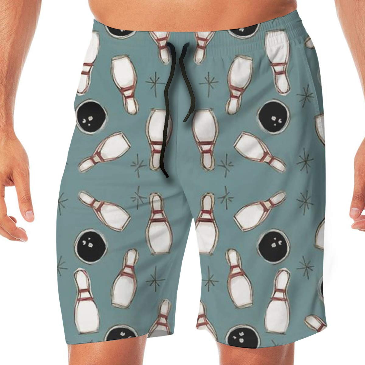 TR2YU7YT Drawing Bowling Fun Casual Mens Swim Trunks Quick Dry Printed Beach Shorts Summer Boardshorts Bathing Suits with Drawstring