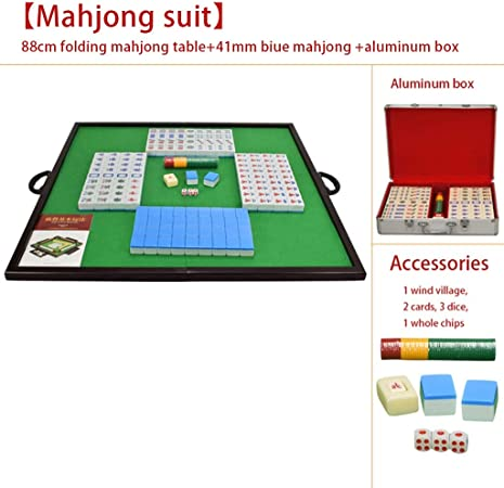 Mah Jong Juego de Mesa portátil Mahjong Juego Familiar Traje Mahjong con Caja Regalos para Padres Juegos Tradicionales (Color : Blue, Size : 41mm): Amazon.es: Hogar