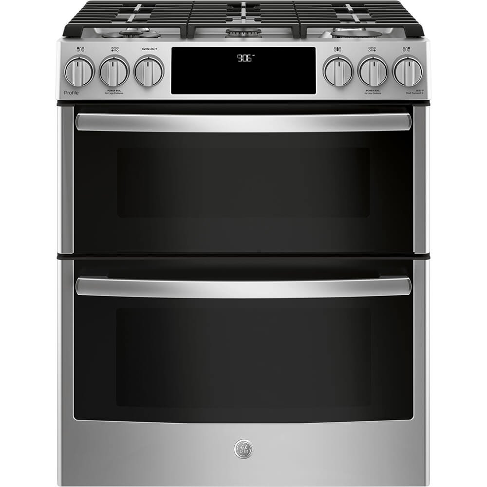 GE Profile PGS960SELSS 30 Inch Slide-in Gas Range with Sealed Burner Cooktop, 6.7 cu. ft. Primary Oven Capacity in Stainless Steel
