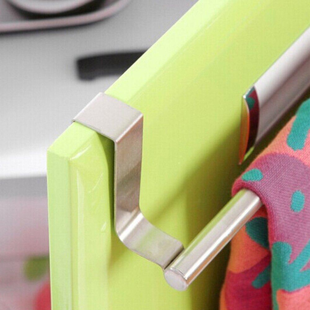 Silver, 23cm Bluelans Over Bathroom Kitchen Cabinet Door Tea Hand Towel Rail Holder Hanger Storage
