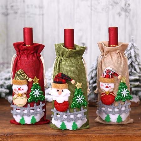 Catkoo Adorno De Navidad Botella De Vino, Navidad Santa Muñeco De Nieve Bolsa De Botella De Vino De Lino, Mesa De Cena De Fiesta Bolsa De Almacenamiento Verde: Amazon.es: Hogar