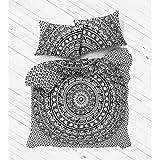 Madhu International King Size White Black Elephant Mandala Duvet Cover, Indian Reversible Mandala Duvet Cover, Bohemian Bedspread, Mandala Cotton handmade Duvets