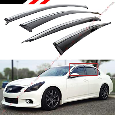 Cuztom Tuning JDM VIP Style Smoke Tinted Window Visor Rain Guard W/Clips & Chrome Trim Fits for 2007-2015 Infiniti G35 G25 G37 Q40 Sedan: Automotive