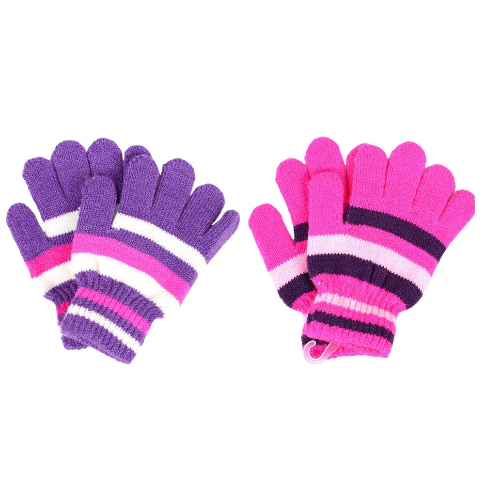 ZTL 2 Pairs Kids Knit Gloves Fleece Lined Warm Thick Winter Gloves for Boys Girls