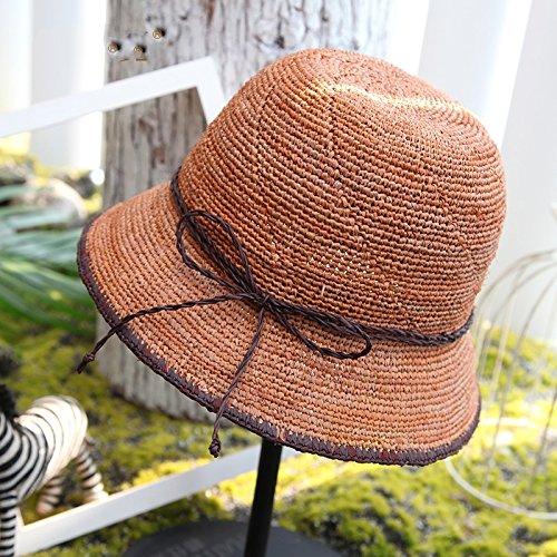 57cm Orange  LLZTYM Femmes été Chapeaux De Paille Voyage Chapeaux De Plage Suncap Chapeau De Soleil Chapeaux Cadeau Chapeau