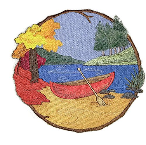 Shield Canoe - Stroll through the Walk In Woods Beauty[Canoe on the river] [Custom and Unique] Embroidered Iron on/Sew patch [8.5