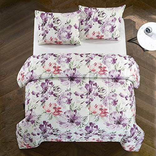 Casa Josie All Season Watercolor Floral Ultra-Soft Alternative Easy-Wash Lightweight Microfiber 2 Piece Comforter Set, Twin, Purple and Pink (Comforter Floral Sets Lavender)