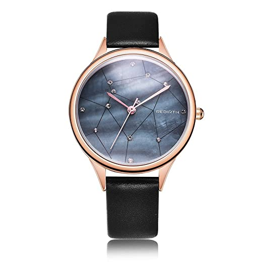 d361067306c0f Rebirth Quartz Women Dress Watch Leather Band Luxury Fashion Ladies Watches.