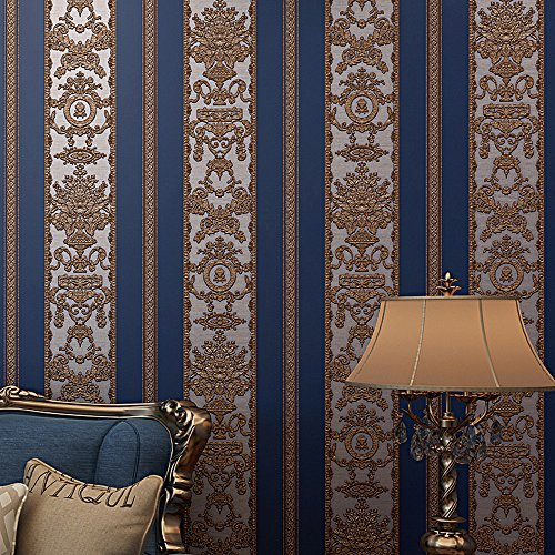 Blooming Wall Vintage French Damasks High Standard Textured Wallpaper Wall Paper for Livingroom Kitchen Bedroom,20.8 In32.8 Ft=57 Sq.ft (Blue/Gold Shapes)