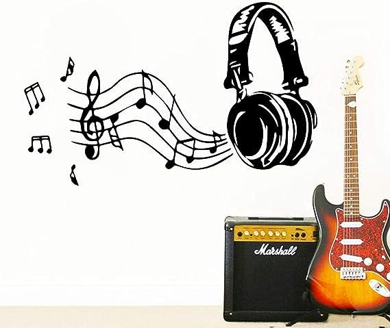 80x43cm arte musica auriculares vinilo pegatinas de pared decoración decorada para la habitacion de los niños wall ...