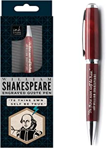 William Shakespeare Engraved Inspirational Quote Pen - To Thine Own Self Be True. - Literary Gifts for Writers Authors Readers Actors Librarians English Teachers