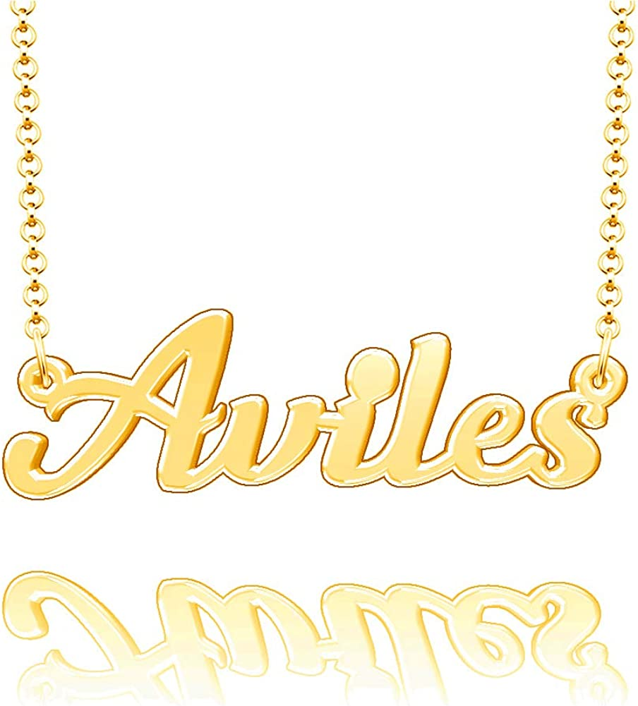 EV.YI Jewels Aviles Custom Personalized Name Necklace Last Name Plate Pendant Gift for Family Mom Dad Friend Lover