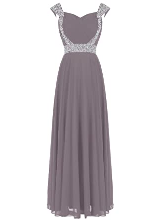 Dressystar Beaded Straps Sweetheart Bridesmaid Prom Dress with Sparkling Waist Size 20 Grey