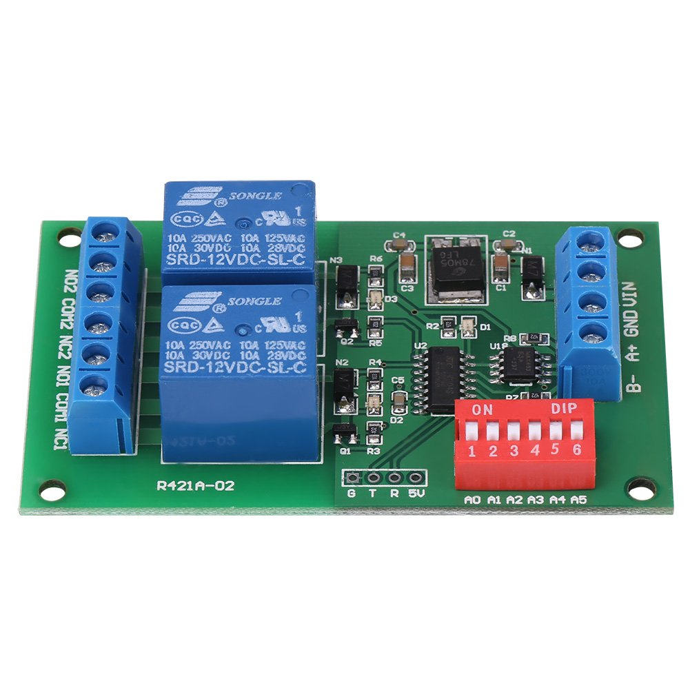 RTU & AT Command 2 CH RS485 Relay PLC Controller UART Serial Port Switch