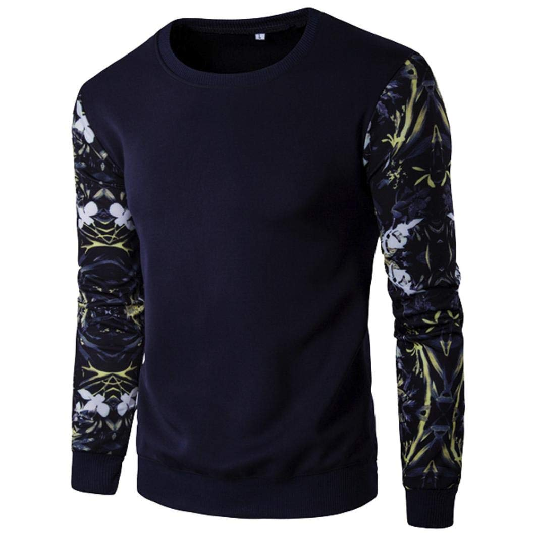 kaifongfu Mens Tops,Stitching Color Slim Long Sleeve Flower Printed Blouse Tops(Navy,4XL)