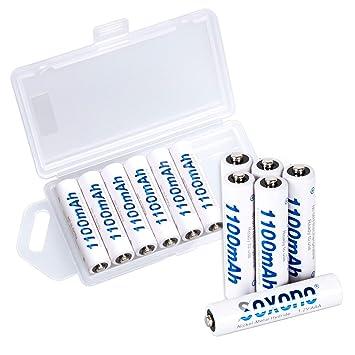 Amazon.com: Soxono - Pilas recargables AAA (1100 mAh, 1,2 V ...
