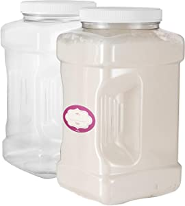 Clear Empty Plastic Storage containers with Lids - Square Plastic Containers - Plastic Jars with Lids – BPA Free Plastic Jar - Food Grade Air Tight with Easy Grip Handles (2 Pack 128 Oz)