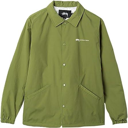 Stussy Intl Coach Jacket Olive – Chaqueta de hombre verde cuello de camisa verde M: Amazon.es: Ropa y accesorios