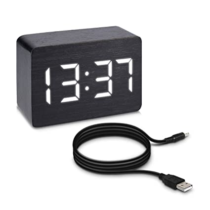 kwmobile Digital Wood Alarm Clock - Small LED Bedside Wooden Clock with Temperature and Date Display