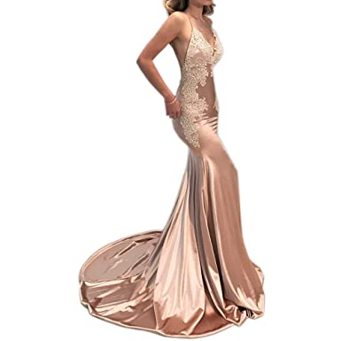 GoDressy Vintage Champagne Prom Dresses Mermaid Style Sexy Spaghetti Backless Formal Women Gowns With Appliques