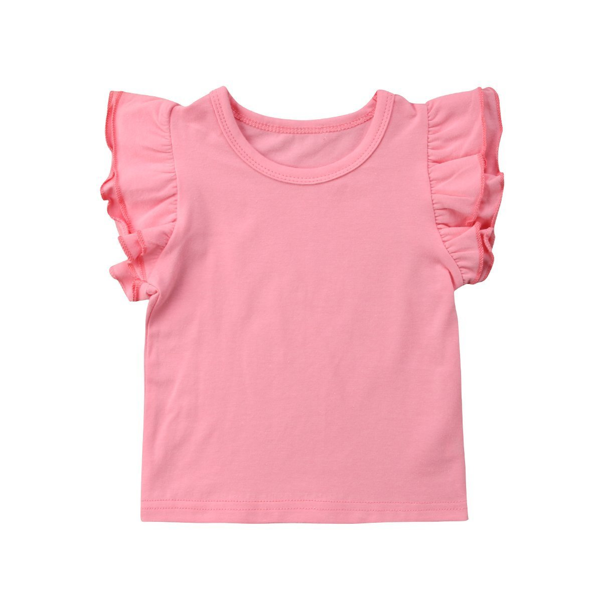 ce1c8eb020e Calsunbaby Infant Toddler Baby Girl Top Basic Plain Ruffle T-Shirt ...
