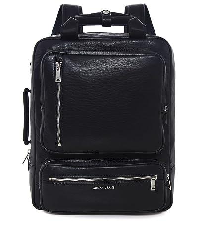 86e168622d5 Armani Jeans Hommes Sac à dos de cuir de faux Zip Noir  Amazon.fr ...