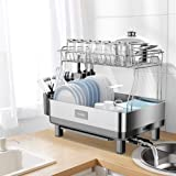 ADOVEL Dish Drying Rack and Drainboard Set, 2 Tier Dish Drainer with Swivel Spout for Kitchen Counter, 304 Stainless…