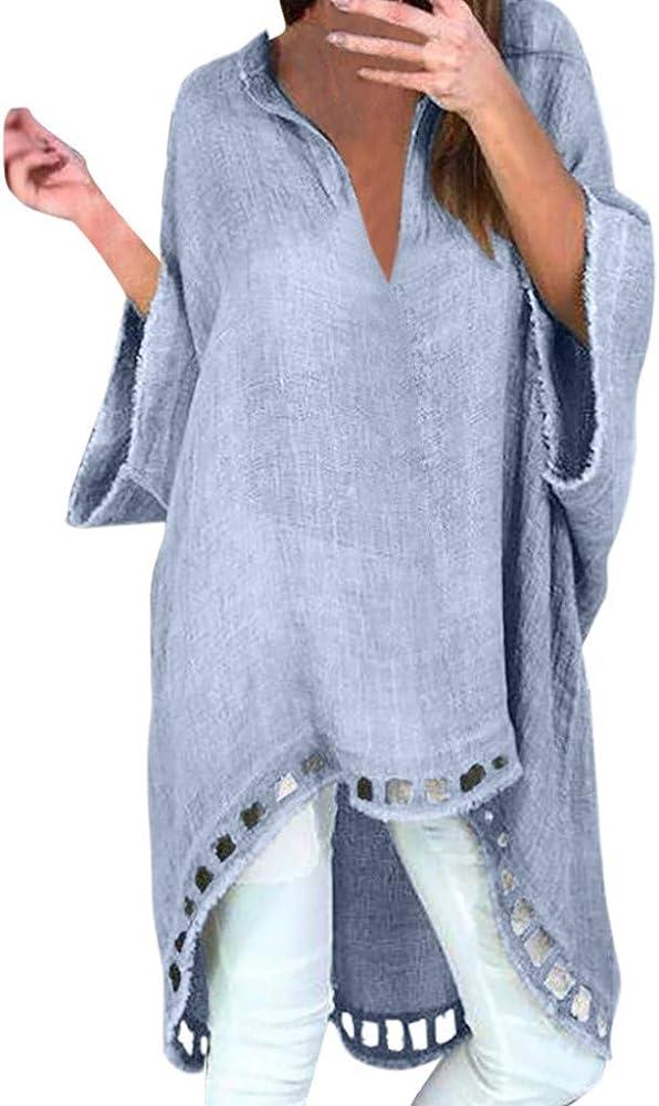 LOPILY Blusas Mujeres Tops de Estilo Simple Moda para Mujer Estilo Casual Camisa Suelta de Lino con Cuello en V Blusas cómodas Blusa Holgada de Gran tamaño Tops Irregulares: Amazon.es: Ropa y