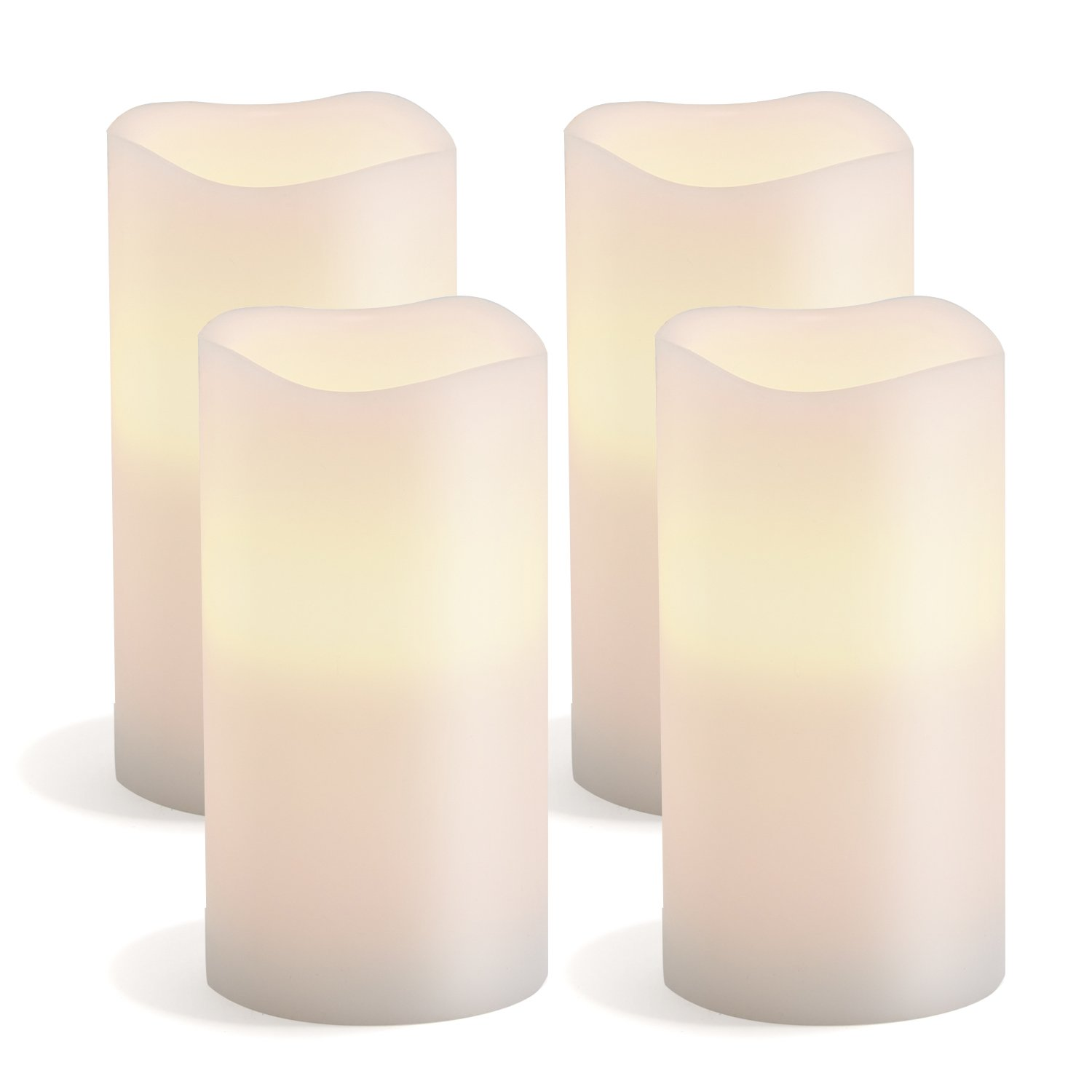 """Large Flameless Pillar Candles, Set of 4, White Wax Candle with Melted Edge, 3"""" x 6"""", Warm White LEDs - Batteries Included"""