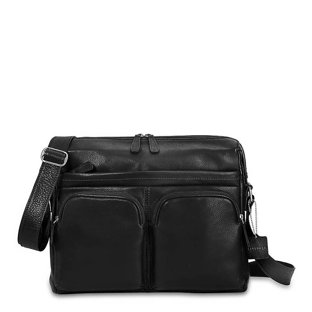 Levenger Double Pocket Messenger, Black (AL12655 BK) by Levenger
