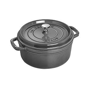 Staub 4 Quart Round Cocotte, Graphite Grey (1102418)