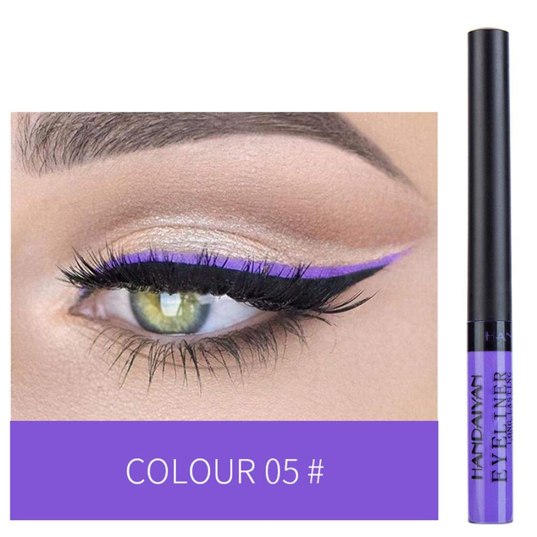 Liquid Eyeliner Waterproof Glitter Eyeliner Liquid Long-lasting Eyeshadow Liquid Liner Metallic Shiny Smoky Eyes Eyeliner Liquid Felt Tip (E)