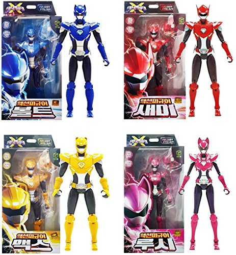 (MINI FORCE 2018 New Version Miniforce X Set of 4 Bolt Semi Max Lucy Korean Robot Action Figure Blue Red Yellow Pink 6.9